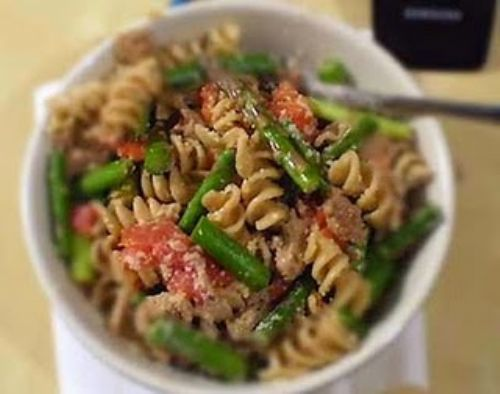 Whole Wheat Pasta with Asparagus & Turkey Sausage