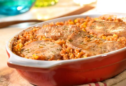 Pork Chop & Spanish Rice Bake
