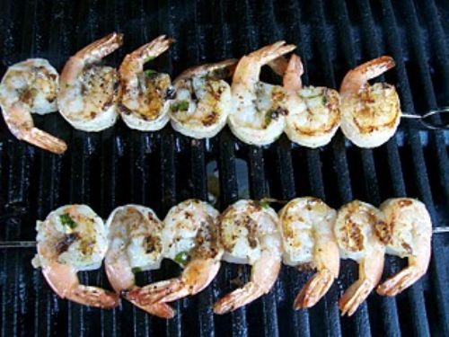 Grilled scampi on a stick