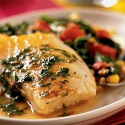 Sea bass with lemon butter sauce