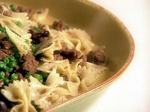 Farfalle with Turkey Sausage, Peas and Mushroom