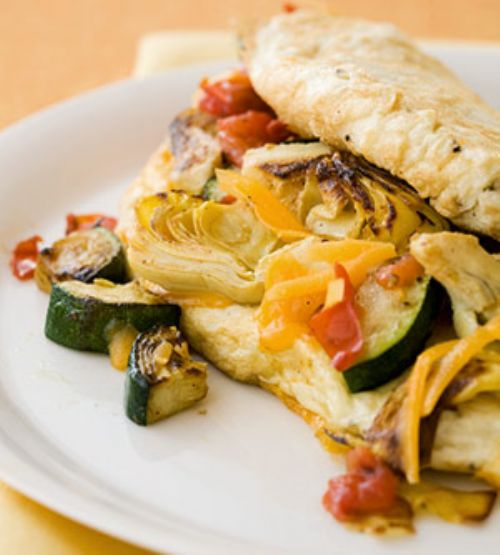 Souffle Omelet With Zucchini, Artichoke & Cheddar