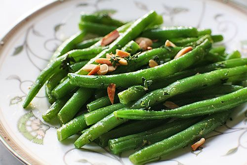 Sauteed Green beans w/ Almonds & Mustard Butter
