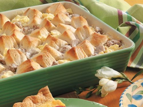 Creamy Sausage Casserole with Biscuits