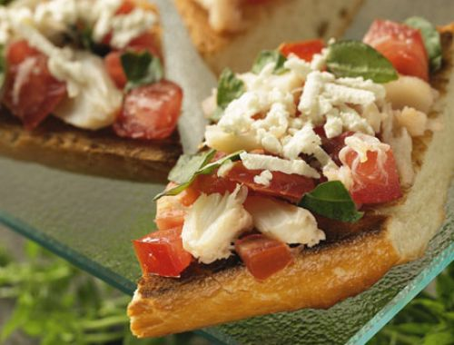 Bruschetta and cheese bread