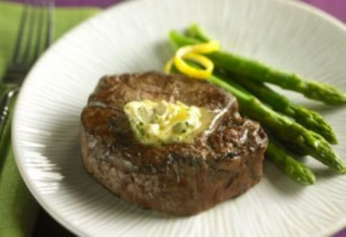 Broiled Filet Mignon with Lemon-Herb Butter and As